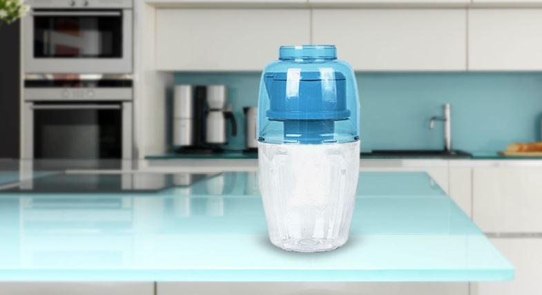 White and Blue portable alkaline making water bottle