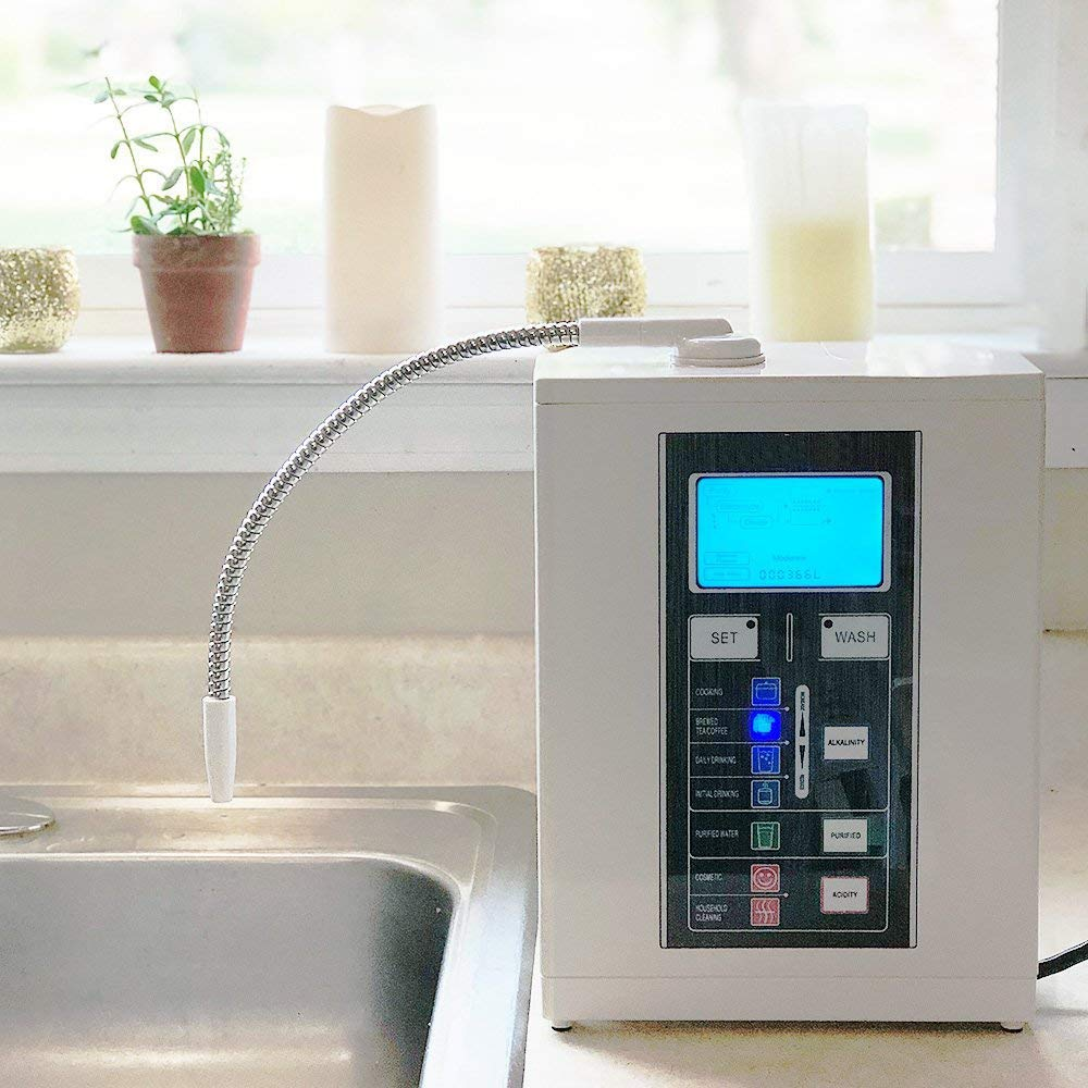 alkaline water ionizer installed at kitchen sink