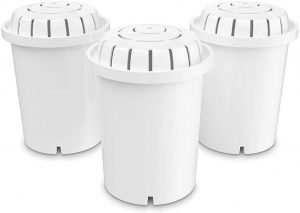 3 replacement filters for the pH Recharge & Restore water pitchers on a white background
