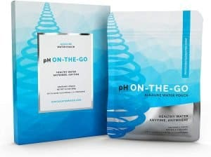 pH On-the-go alkaline water pouch in packaging