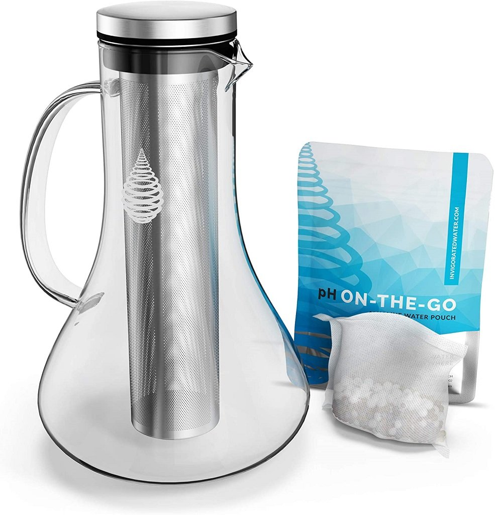 pH Replenish Glass Alkaline Water Pitcher on white background shown with pH on-the-go pouch